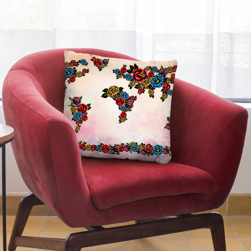 Flowers Map Throw Pillow By Mark Ashkenazi