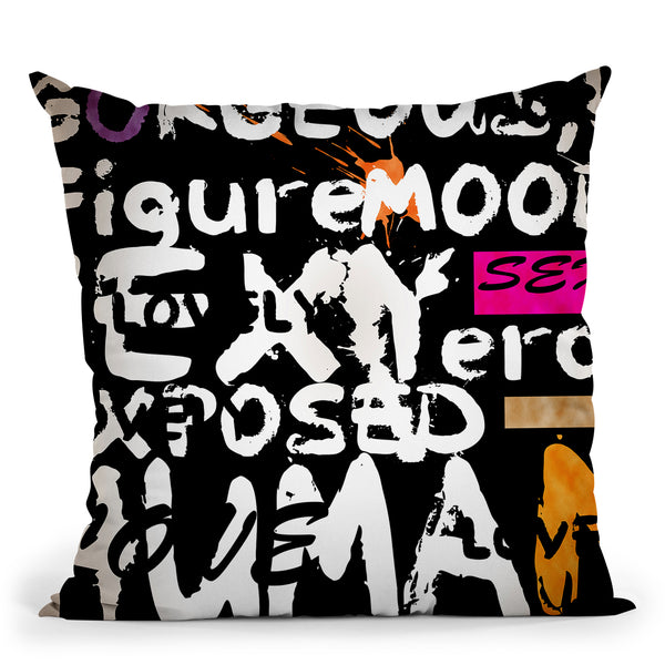 Abstract Of Words I Throw Pillow By Mark Ashkenazi