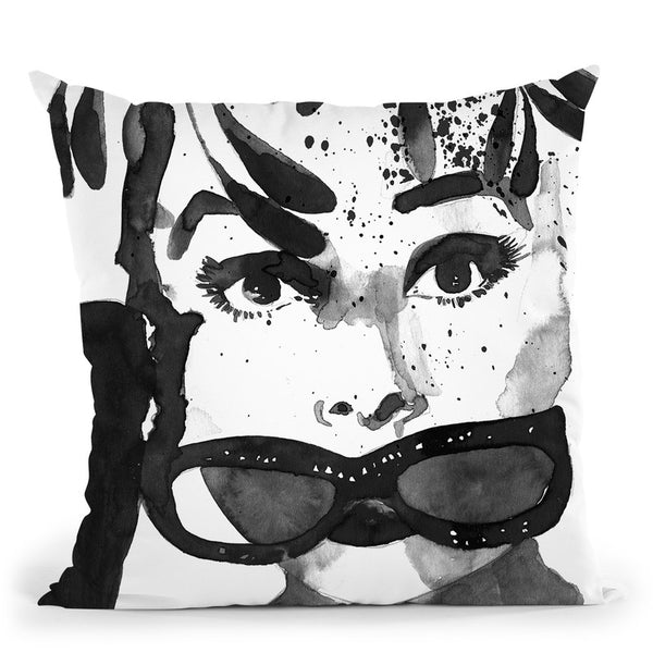 Audrey Feathers Throw Pillow By Mercedes Lopez Charro