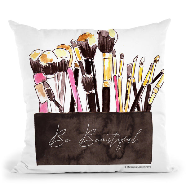 Make Up Brushes Throw Pillow By Mercedes Lopez Charro