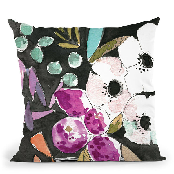Midnight Florals Throw Pillow By Mercedes Lopez Charro