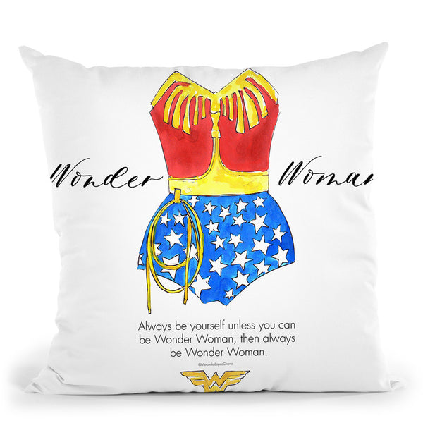 Wonderwoman Vintage Cusion Throw Pillow By Mercedes Lopez Charro