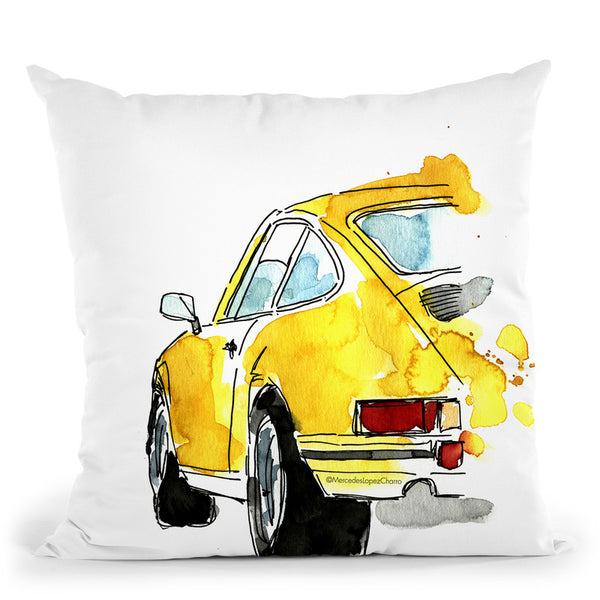 Yellow Porsche Throw Pillow By Mercedes Lopez Charro