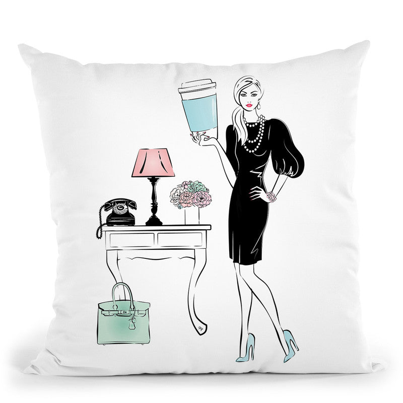 Coffee Girl Vi Throw Pillow By Martina Pavlova