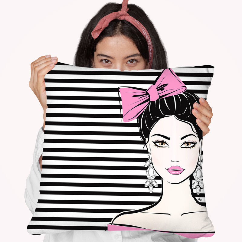 Bow Girl Throw Pillow By Martina Pavlova