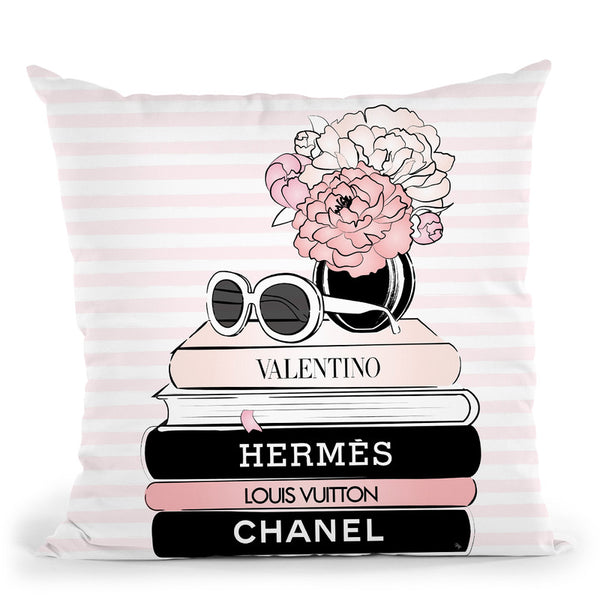 Pink Books Throw Pillow By Martina Pavlova