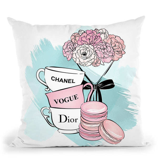 Tea Time Throw Pillow By Martina Pavlova