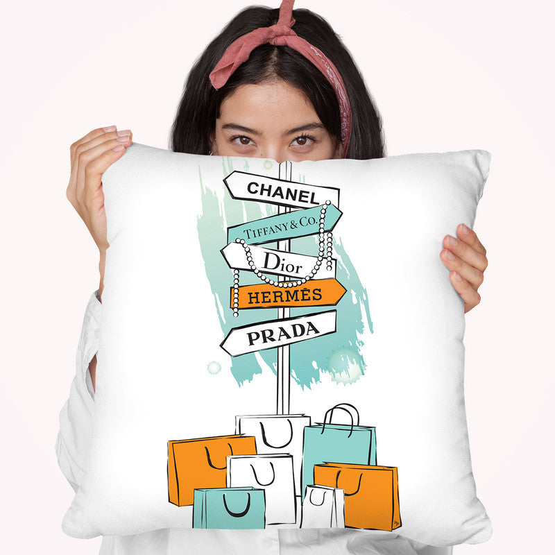Shopping Sign Throw Pillow By Martina Pavlova