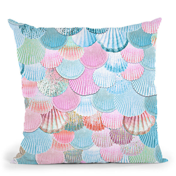 Mermaidells Blue And Pink Throw Pillow By Monika Strigel