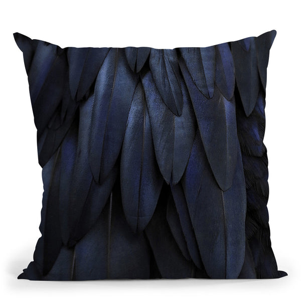 Feathers Dark Blue Throw Pillow By Monika Strigel