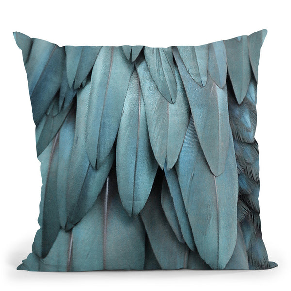 Feathers Silver Blue Throw Pillow By Monika Strigel