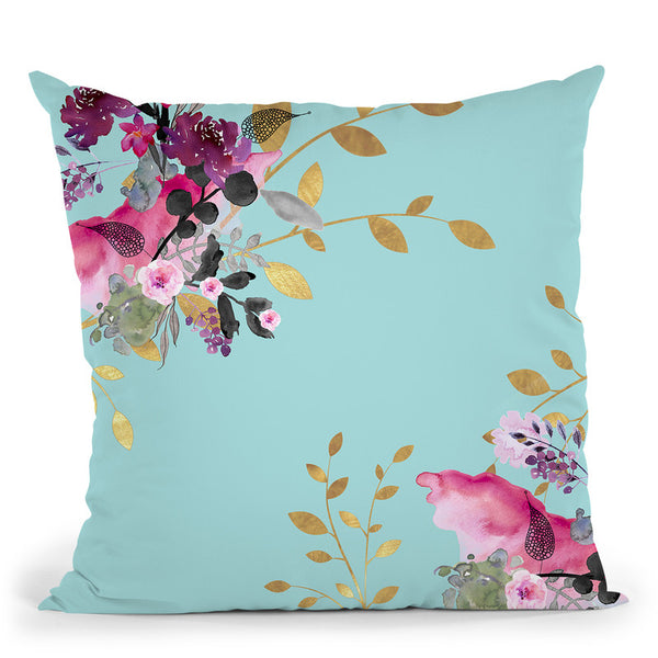 Flower And Gold Black Throw Pillow By Monika Strigel