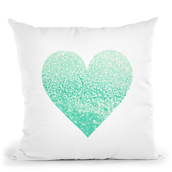 Gatsby Seafoam Heart Throw Pillow By Monika Strigel
