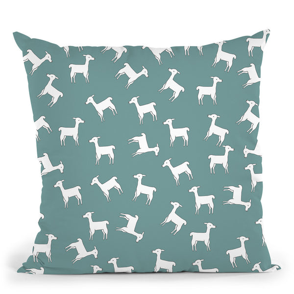 All About Lamas Teal Throw Pillow By Monika Strigel
