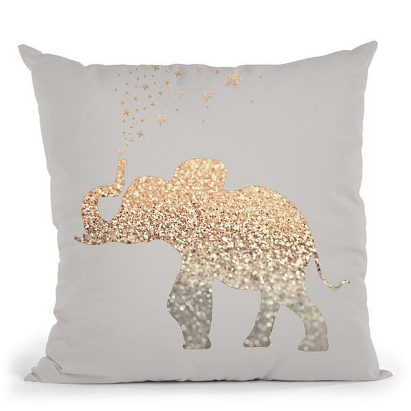 Happy Elephant Light Nude Throw Pillow By Monika Strigel