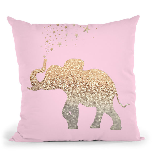 Happy Elephant Soft Pink Throw Pillow By Monika Strigel