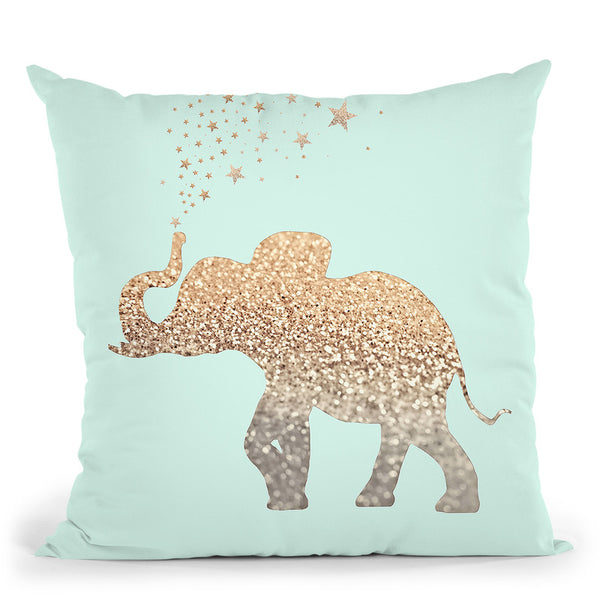 Happy Elephant Sweet Mint Throw Pillow By Monika Strigel