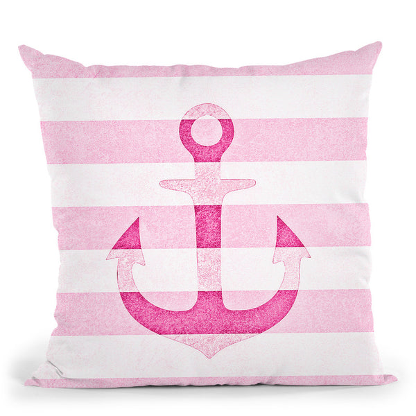 Anchor Vintage Pink Throw Pillow By Monika Strigel