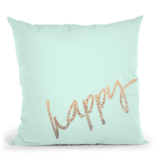 Happy Gold Sweet Mint Throw Pillow By Monika Strigel