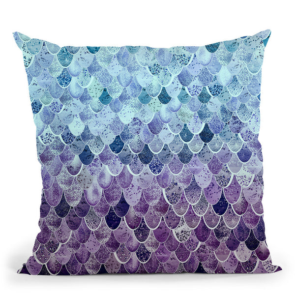 Happy Mermaid Blue Lavender Throw Pillow By Monika Strigel