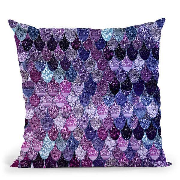 Happy Mermaid Dark Purple Throw Pillow By Monika Strigel