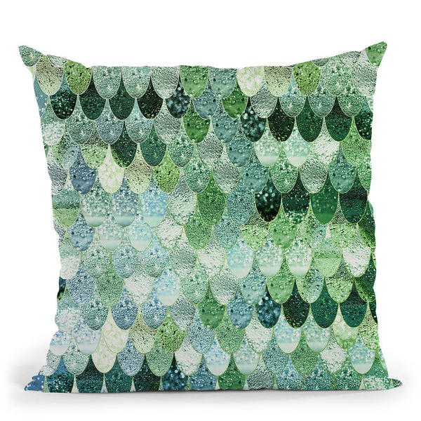 Happy Mermaid Green And Mint Throw Pillow By Monika Strigel