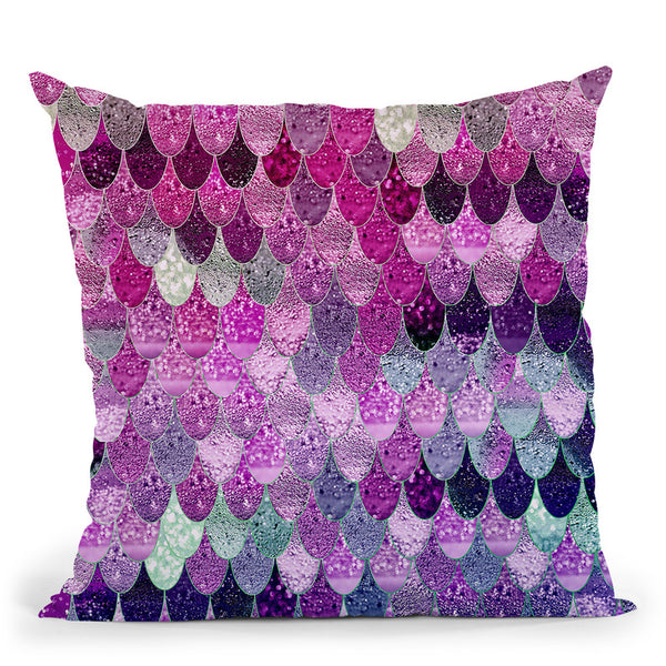 Happy Mermaid Pink And Lavender Throw Pillow By Monika Strigel