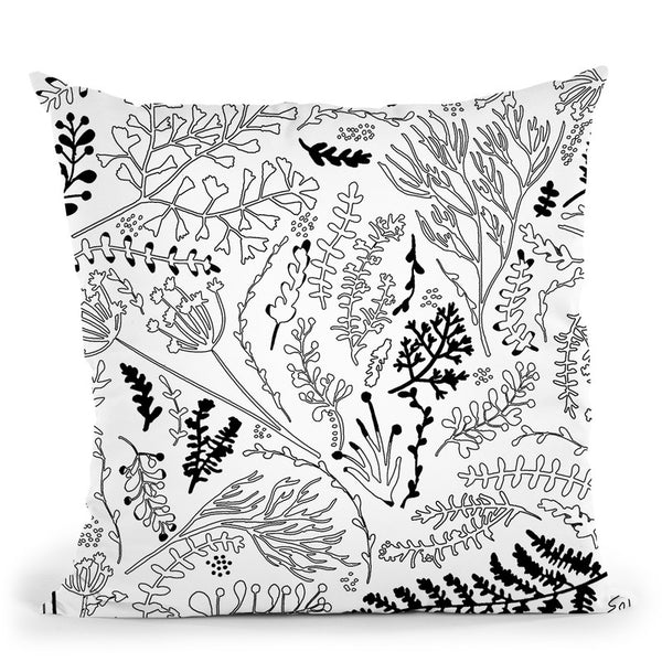 Herbs And Ferns Strigel Black White Throw Pillow By Monika Strigel