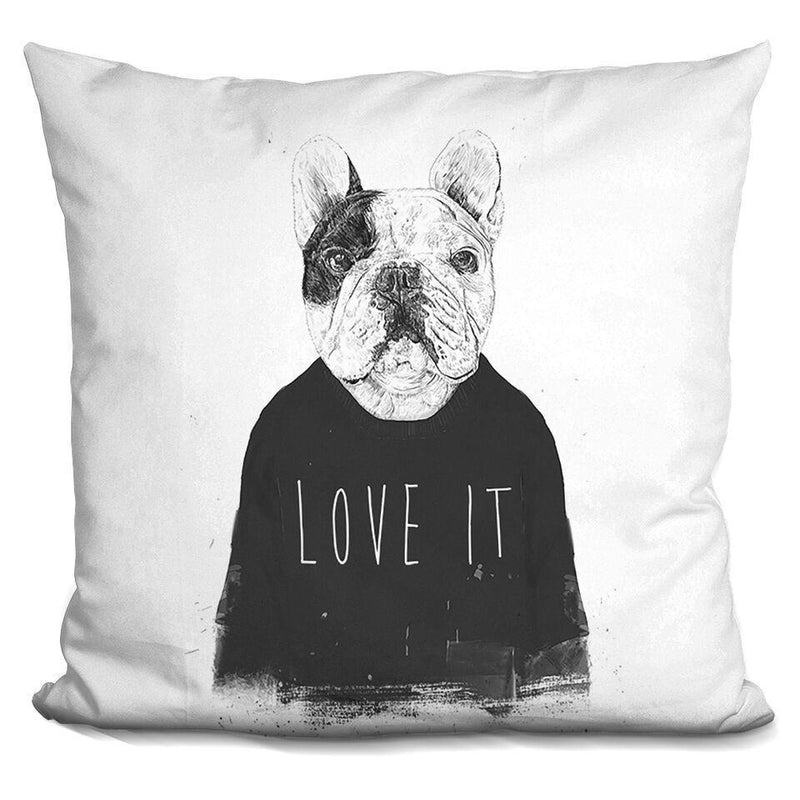 Manny the Frenchie by Balazs Solti Pillow