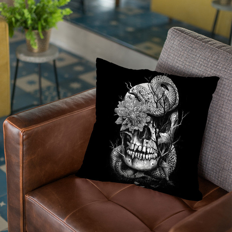 Snake And Skull Throw Pillow By Nicebleed