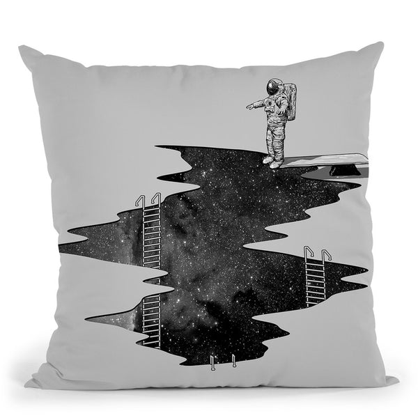 Space Diving Square Throw Pillow By Nicebleed