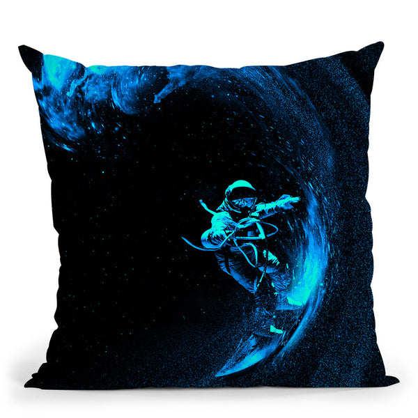 Space Surfing Blue Wave Throw Pillow By Nicebleed