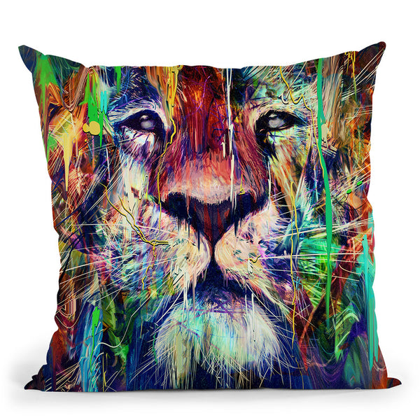 Lion I Throw Pillow By Nicebleed