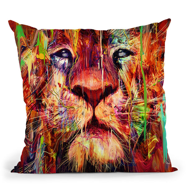 Lion Red Throw Pillow By Nicebleed