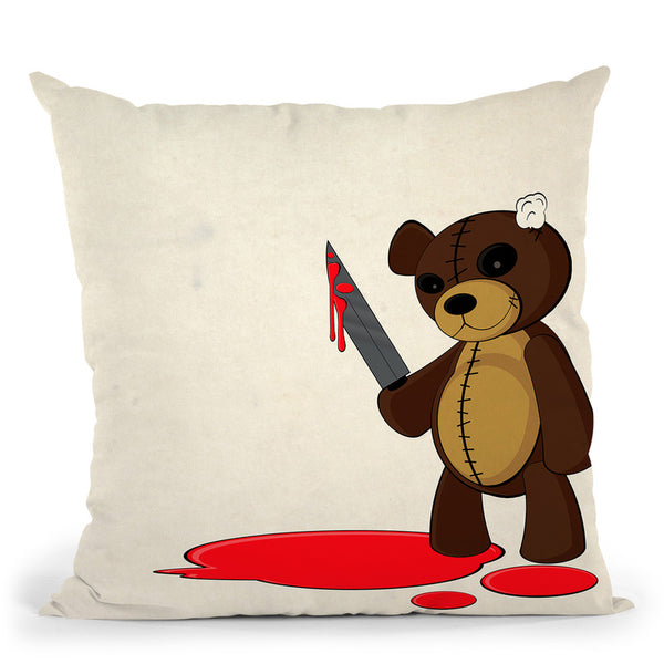 Psycho Teddy Throw Pillow By Niklas Gustafson