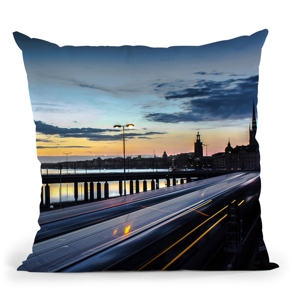 Stockholm Night - Slussen Throw Pillow By Niklas Gustafson