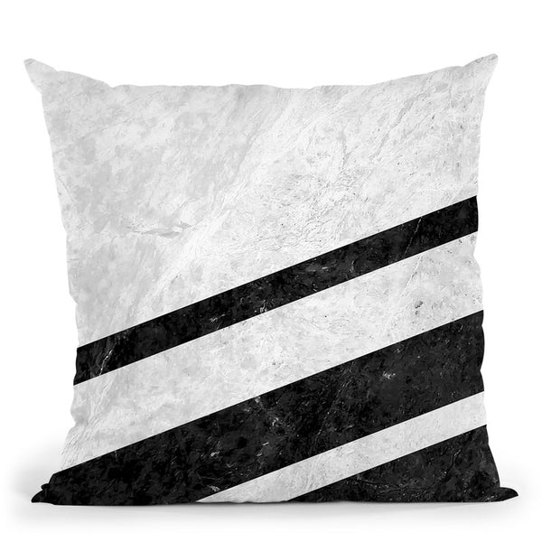 White Striped Marble Throw Pillow By Niklas Gustafson