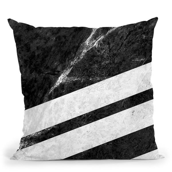 Black Striped Marble Throw Pillow By Niklas Gustafson