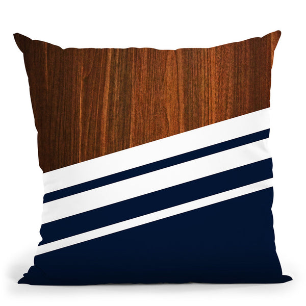 Wooden Navy Throw Pillow By Niklas Gustafson