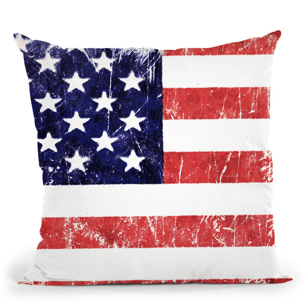American Grunge Flag Throw Pillow By Niklas Gustafson