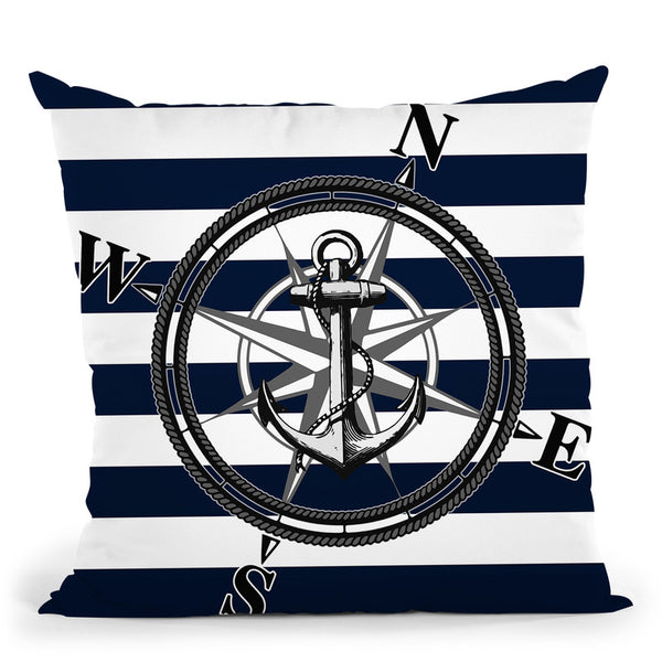 Navy Striped Nautica Throw Pillow By Niklas Gustafson