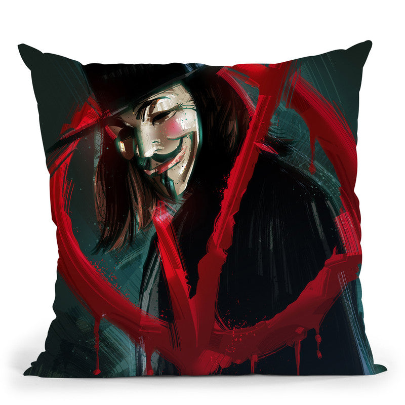 V For Vendetta Throw Pillow By Nikita Abakumov