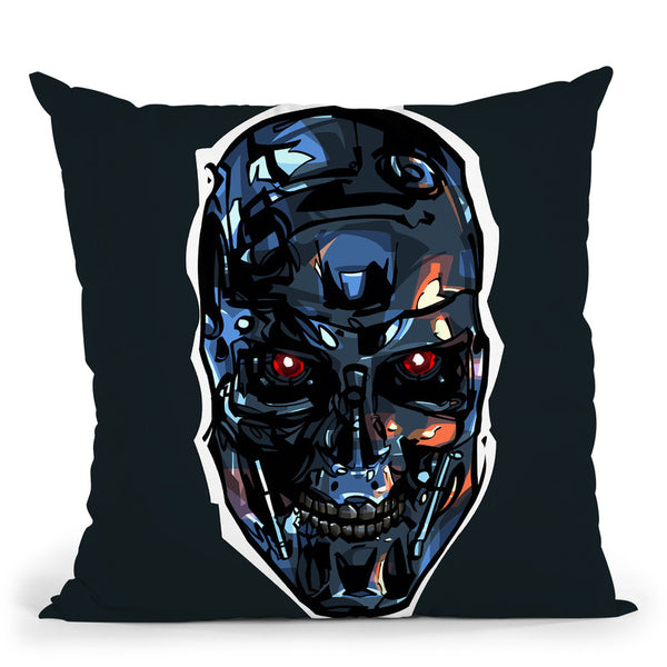 Terminator Head Throw Pillow By Nikita Abakumov