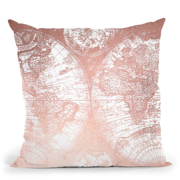 Vintage World Map Rose Gold Pink Throw Pillow By Nature Magick