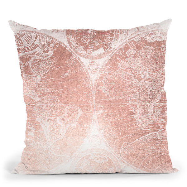 Vintage World Map Rose Gold Pink Ii Throw Pillow By Nature Magick