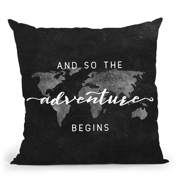 And So The Adventure Begins World Map Throw Pillow By Nature Magick