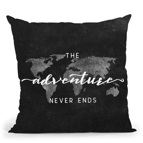 The Adventure Never Ends World Map Throw Pillow By Nature Magick