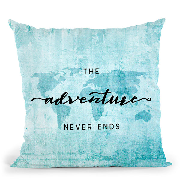 Teal World Map Adventure Never Ends Ii Throw Pillow By Nature Magick
