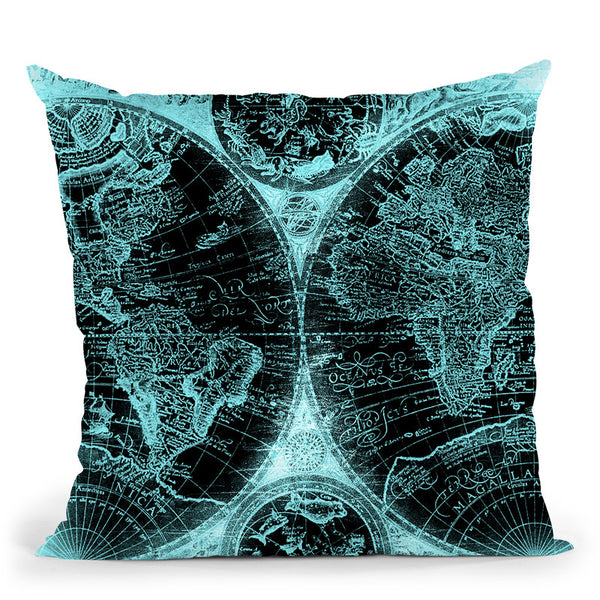 Vintage World Map Black And Teal Throw Pillow By Nature Magick