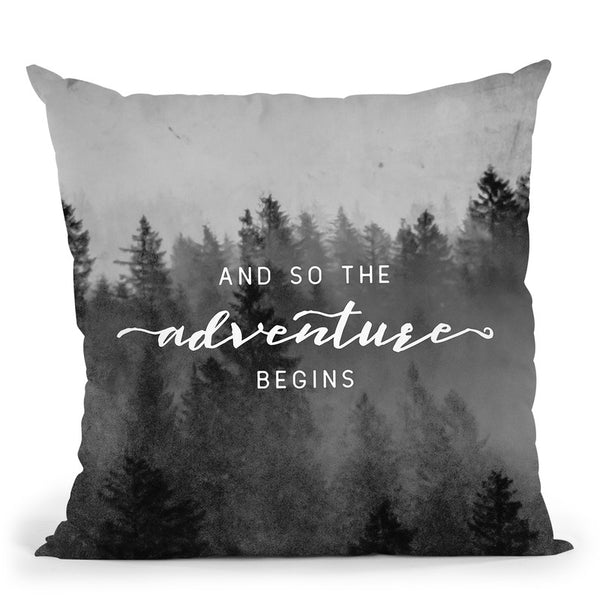 And So The Adventure Begins Morning Forest Throw Pillow By Nature Magick
